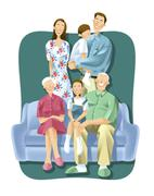 Three-generation family Stock Illustration