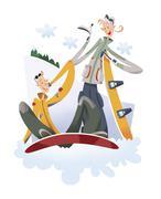 Couple snowboarding - stock illustration