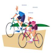 Couple, cycling Stock Illustration