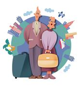 Stock Illustration of Couple traveling abroad
