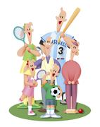 Three-generation family playing sports - stock illustration