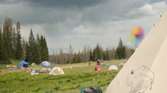 Teepee tent at Rainbow family gathering Stock Footage