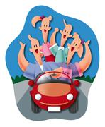 Family going for a drive Stock Illustration