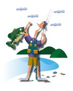 Man, fishing - stock illustration