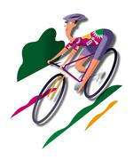 Man, road bicycle racing - stock illustration