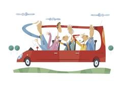 Three-generation family going for a drive Stock Illustration