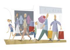 Stock Illustration of Three-generation family, shopping