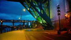Gateshead Millennium Bridge and The Sage at dusk, Newcastle Stock Footage
