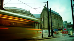 Trams departs St Peter's Square station in Manchester - stock footage