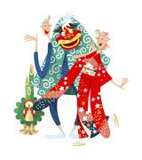 Japanese couple celebrating New Year's - stock illustration