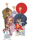 Three-generation japanese family celebrating New Year's Stock Illustration