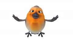 3D orange robin flying - stock footage
