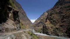 Trekking in Himalaya mountains Stock Footage