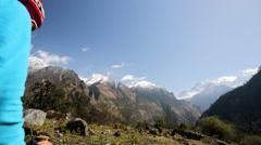 Hiking in Himalaya mountains Stock Footage