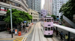 City view from the Hong Kong tram Stock Footage