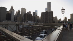 Brooklyn Bridge Freedom Tower Manhattan Skyline New York City NYC USA 4K - stock footage
