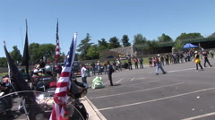 Rolling Thunder leaves Pentagon parking lot for parade Stock Footage