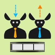 Abstract flat icon man watching movies eps - stock illustration