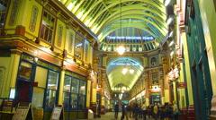 Pedestrians on Leadenhall Market in London,UK.time lapse, 4k, Stock Footage