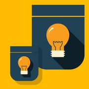 Icon glowing light bulb on a simple shield - stock illustration