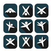 Icons of modern people leading active lifestyle Stock Illustration
