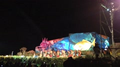 Tapati festival in the evening at the Easter Island, Rapa Nui Stock Footage