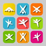 Icons of modern people leading active lifestyle - stock illustration