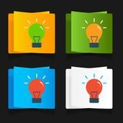 Set of simple icons flat color light bulbs - stock illustration