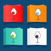 set of simple glasses for alcoholic drinks - stock illustration