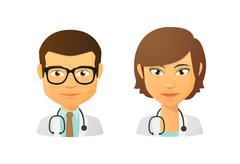 medic avatar set - stock illustration
