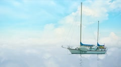 Yacht in morning fog on a background of clouds Stock Footage