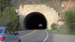 Car enters dark tunnel Mesa Verde Colorado 4K 108 Stock Footage