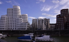 The Media Harbor in Dusseldorf, Germany. Stock Footage