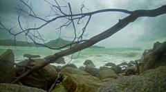Cloudy weather. beach near kamala beach. the rainy season in thailand Stock Footage