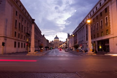 Timelapse of St. Peter's Square at the Vatican at night. Stock Footage