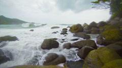 Surf along the rugged coast. the rainy season in thailand Stock Footage