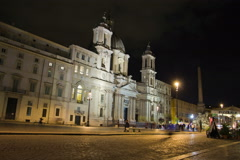 Piazza Navona in Rome, Italy. Night time lapse. Stock Footage