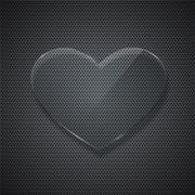 Vector glass heart on metal grid background Stock Illustration