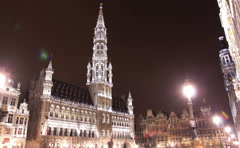The Grand Place in Rain, the focal point of Brussels, Belgium. - stock footage