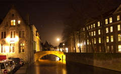 Bruges (Brugge) canal in the evening, Belgium. Time Lapse. Stock Footage