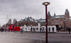 The words IAMSTERDAM. Amsterdam, The Netherlands. Time Lapse. Stock Footage