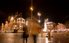 Dam Square at night. Amsterdam, The Netherlands. Time Lapse. Stock Footage