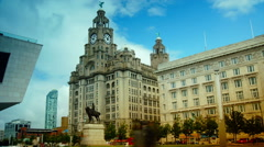 Royal Liver Buildings on sunny day Stock Footage