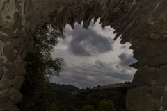 Transylvania landscape seen through abandoned medieval castle window 6K Stock Footage