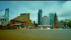 Office Buildings On Liverpool Waterfront Skyline, England, time lapse, 4k, Stock Footage