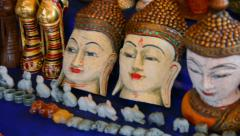 Hand-made souvenirs on the counter of the market. inle lake, myanmar Stock Footage