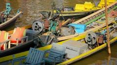 Empty motorboats near the shore. inle lake, myanmar Stock Footage