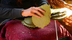 Sorting of leaves for the manufacture of cigars. inle lake, myanmar Stock Footage