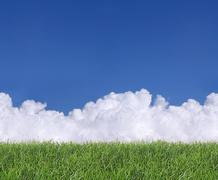 seamless clouds and grass - stock photo