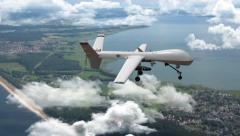 An armed reaper drone in flight Stock Footage